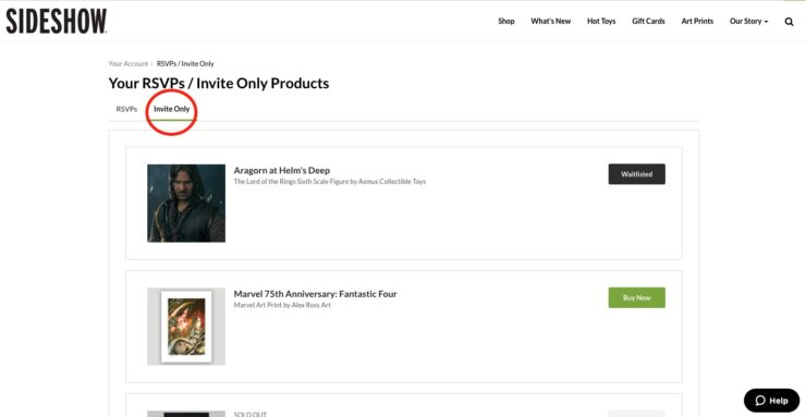 Sideshow Account Invite Only Page
