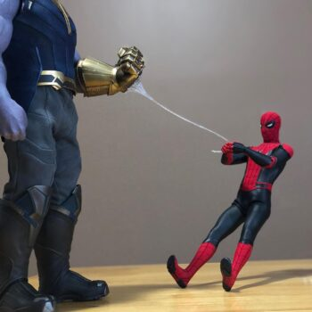 Thanos and Spider-Man Collectibles shared by Nicholas Cedeno on Instagram
