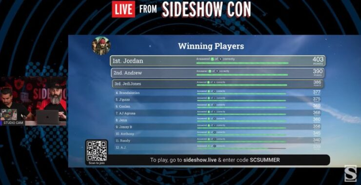 Trivia Live From Sideshow Day 5 Game 1