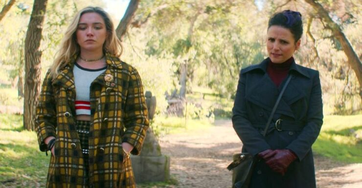 Yelena and Valentina meet at Natasha's gravesite