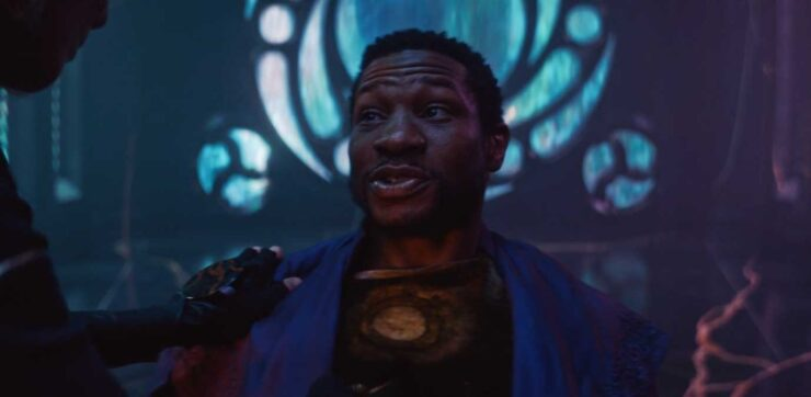 He Who Remains, played by Jonathan Majors, discusses time with Loki and Sylvie