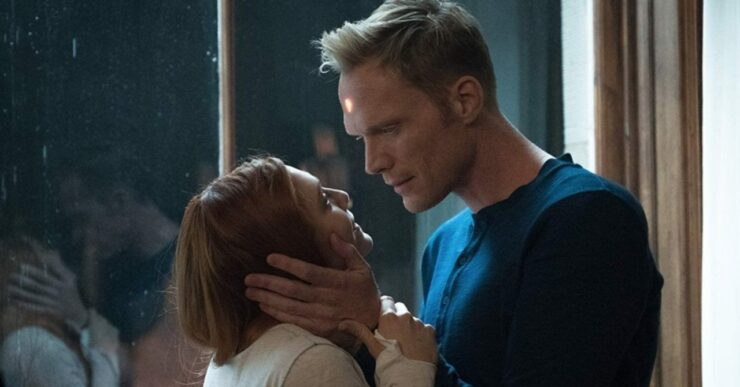 Elizabeth Olsen as Wanda Maximoff/Scarlet Witch and Paul Bettany as Vision in Marvel Studios Avengers Infinity War