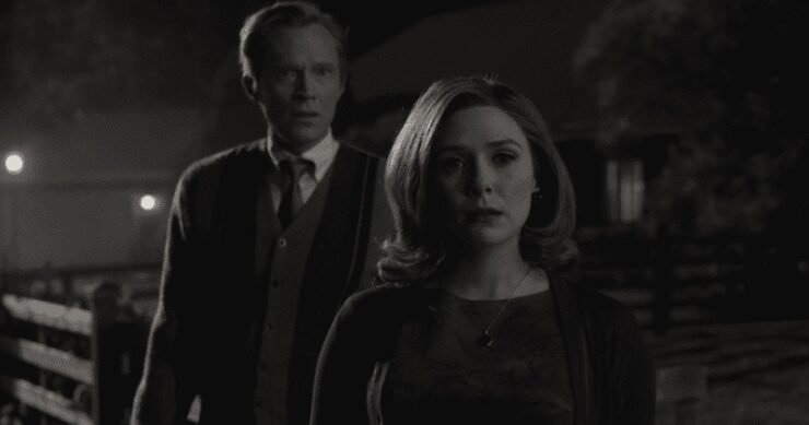 Elizabeth Olsen as Wanda Maximoff/Scarlet Witch and Paul Bettany as Vision in Marvel Studios WandaVision