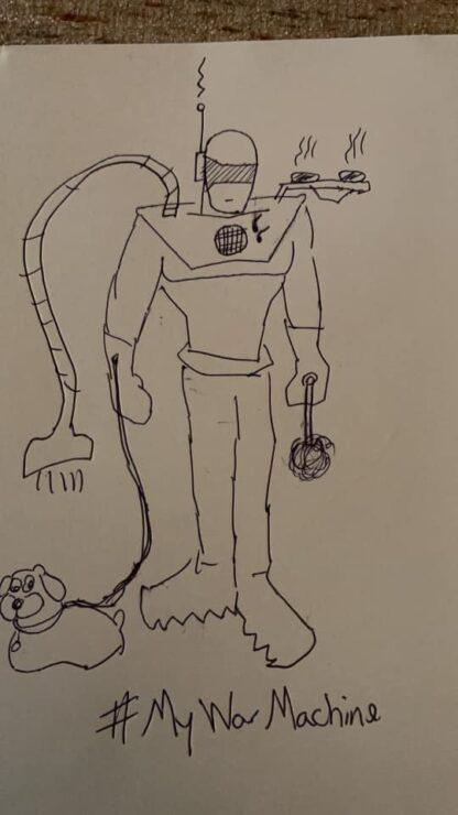 Let Your Geek Sideshow Facebook Group member Aaron J.'s War Machine armor sketch design