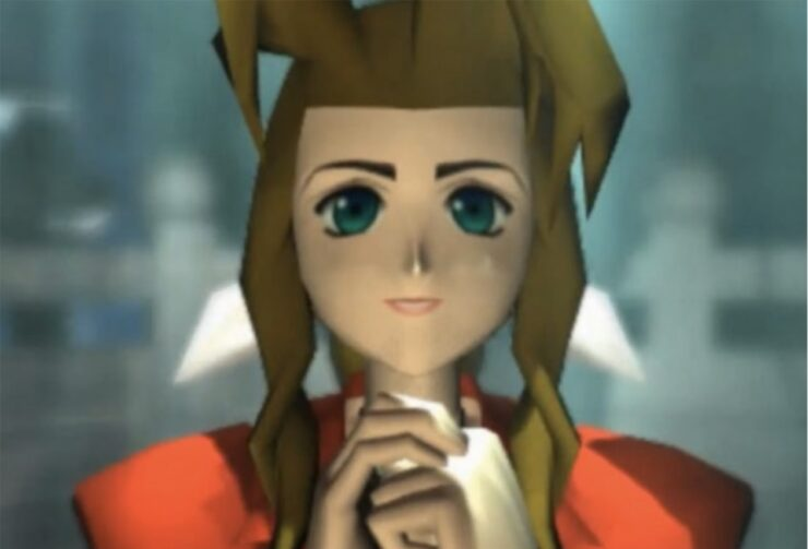 Aerith prays for Holy in a temple within the Forgotten City in one of the most iconic scenes of the game
