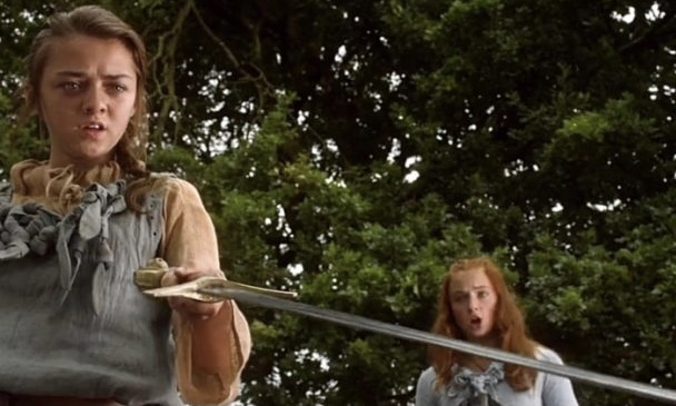 Arya stands up to Joffrey's cruelty form the very start, using her sword skills to show him who's superior