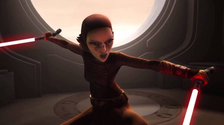 Barriss Offee holds two red lightsabers in Star Wars The Clone Wars