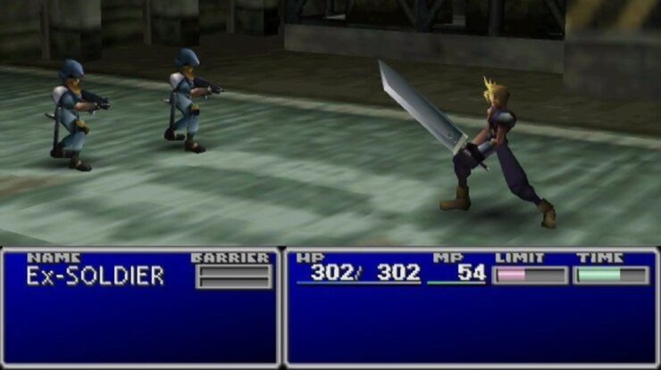 Cloud brandishes his broadsword during a battle in Final Fantasy VII