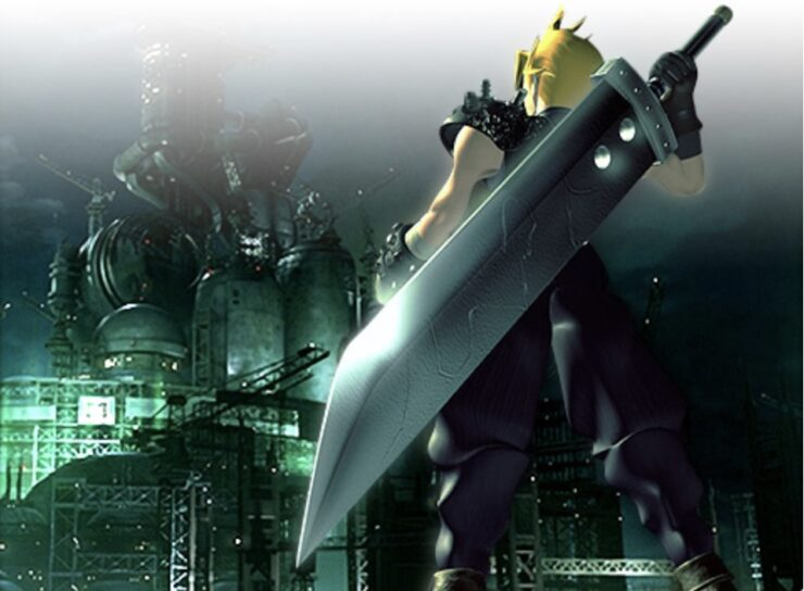 Cloud Strife, protagonist of Final Fantasy VII, gazes at the Shinra base in the city of Midgar