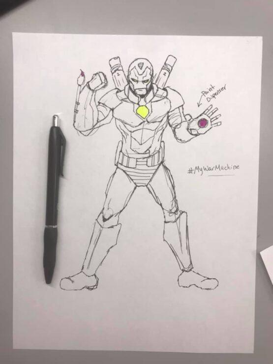 Let Your Geek Sideshow Facebook Group member Corbin D.'s War Machine armor sketch design