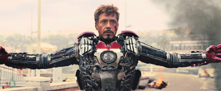 Iron Man faces off against his adversary Whiplash in Iron Man 2