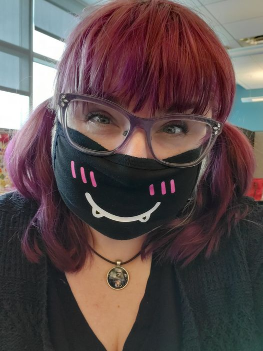 Let. Your Geek Sideshow Facebook Group member Michelle S. in her anime mask