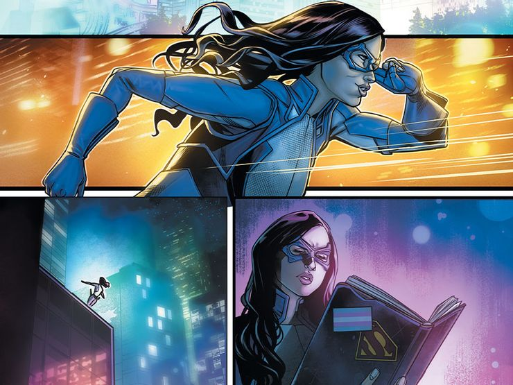 Nia Nal AKA Dreamer wears her blue, white, and black supersuit as she pursues leads amidst neon hues of the city
