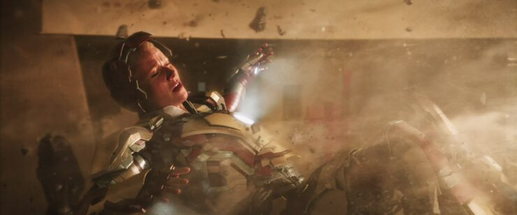 During an attack from the Mandarin, Tony saves Pepper with one of his suits