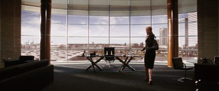 Pepper Potts sneaks into Obadiah Stane's office in Iron Man (2008)