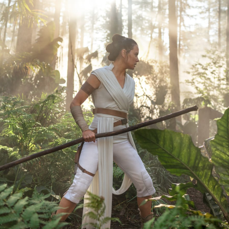 Rey continues her Jedi training, now under the tutelage of General Leia Organa in Star Wars: The Rise of Skywalker
