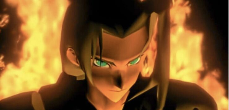 Sephiroth, the main antagonist of Final Fantasy VII, stares ominously amid a scene of fiery wreckage