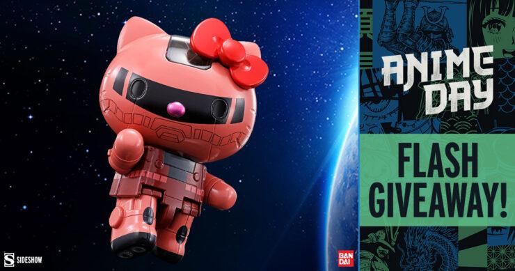 Sideshow Anime Day Flash Giveaway Gundam Char's Zaku II x Hello Kitty Collectible Figure by Bandai