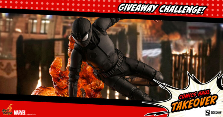 Sideshow Comics Haul Takeover Giveaway Challenge Spider-Man (Stealth Suit) Deluxe Version Sixth Scale Figure by Hot Toys
