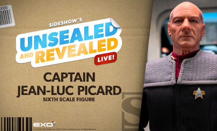 Sideshow Unsealed and Revealed LIVE Captain Jean-Luc Picard Sixth Scale Figure by EXO-6