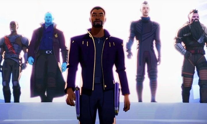 T'Challa, as Star-Lord, leads his Ravagers crew to the next adventure, from left to right: Korath, Yondu, T'Challa, Kraglin, Taserface
