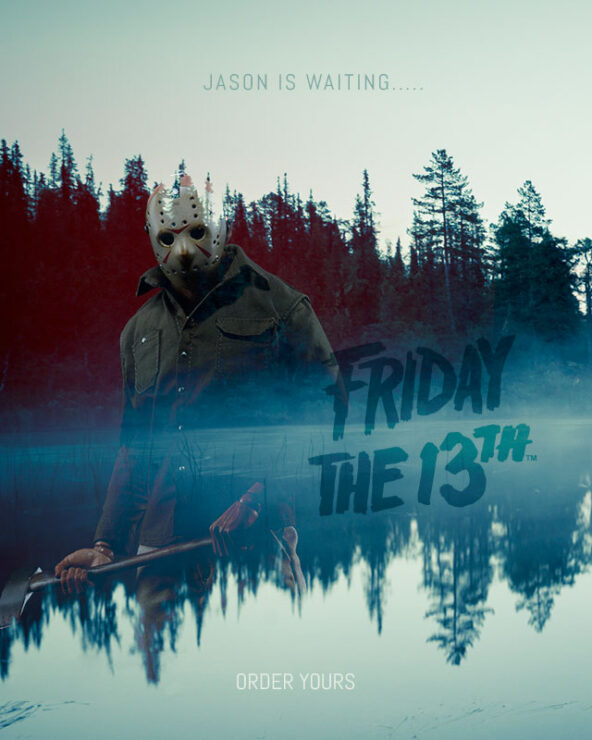 Jason Voorhees ominously overlooks the misty lake at Camp Crystal Lake