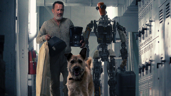 Tom Hanks in Finch, Pictured with Goodyear the Dog and a Robot