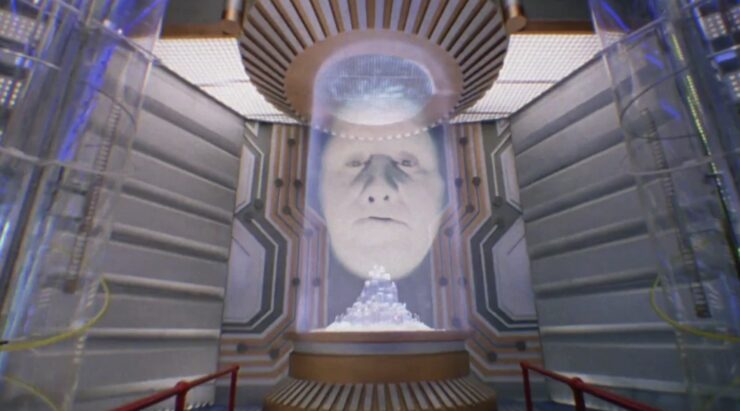 Zordon guides the Power Rangers from his post in the Command Center