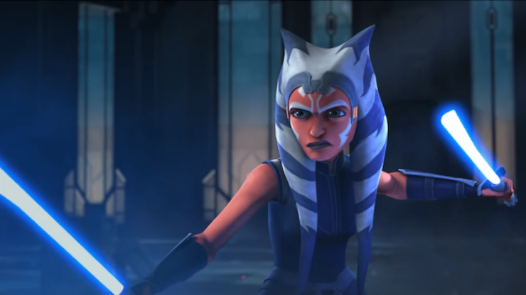 Ahsoka Tano wields her duel lightsabers in Star Wars The Clone Wars Season 7