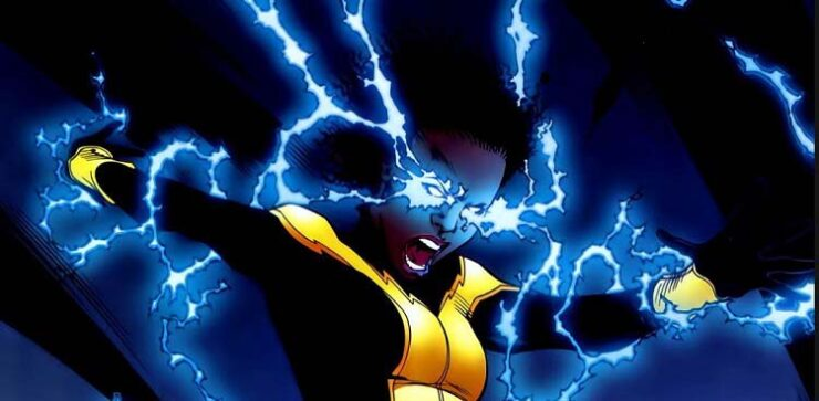 Anissa Pierce AKA Thunder prepares to land in an electrifying display of power