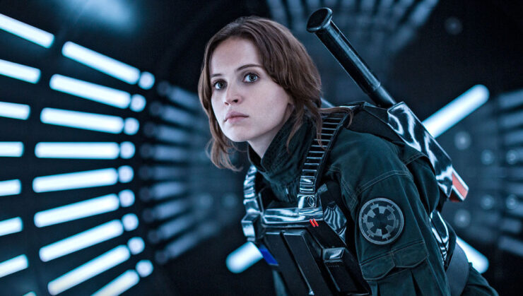 Jyn Erso in imperial pilot disguise in Star Wars Rogue One