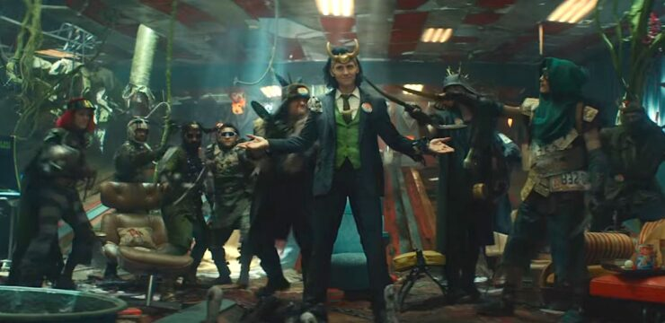 President Loki is surrounded by other Loki Variants in the Marvel Disney Plus series