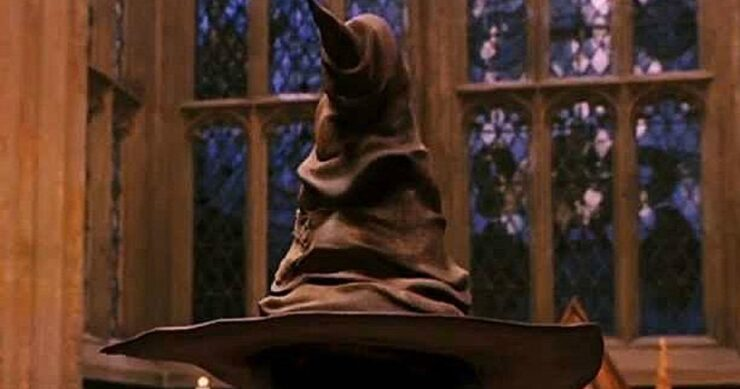 The Sorting Hat prepares to announce a student's house in Harry Potter and The Sorcerer's Stone
