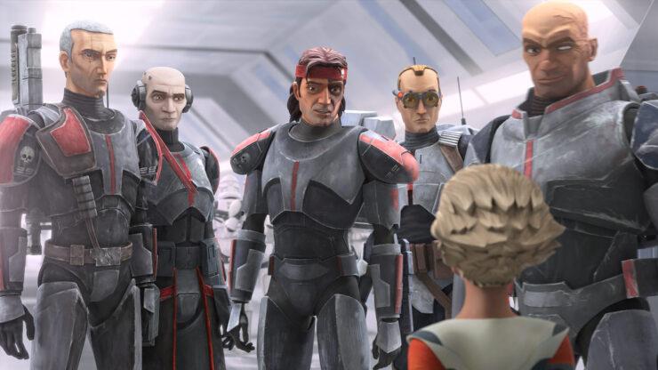 Crosshair, Echo, Hunter, Tech, Wrecker, and Omega in Star Wars: The Bad Batch