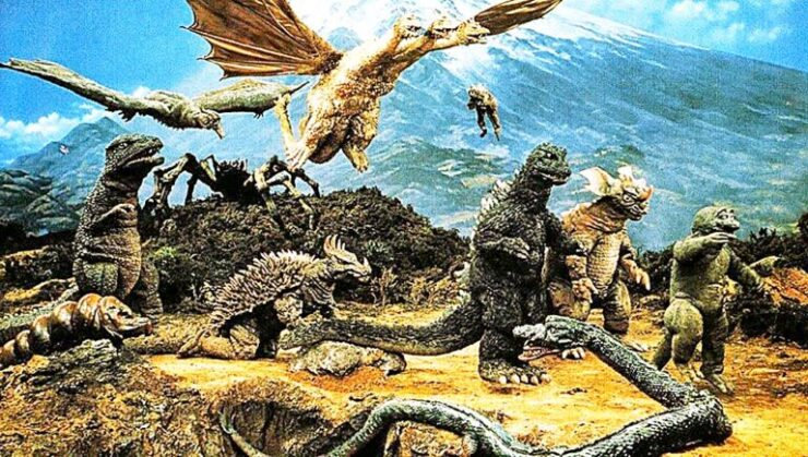 The 1968 Japanese film Destroy All Monsters shows a world where humans live in peace with each other but must contend with destructive mind-controlled kaiju