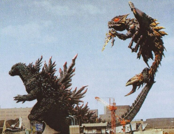 Godzilla battles Megaguirus, the queen of a race of parasitic mutated insects
