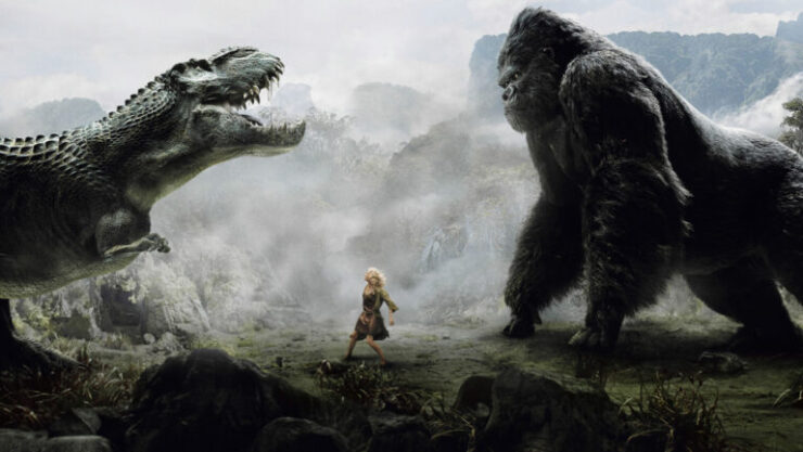 In Peter Jackson's 2005 remake of King Kong, the original gorilla kaiju battles a T. Rex while Naomi Watts stands by in horror