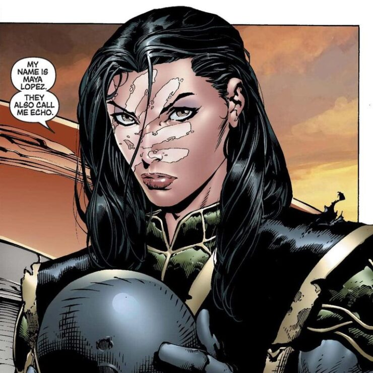 Maya Lopez, known as Echo and sometimes Ronin, is deaf, Native, and a formidable adversary in battle