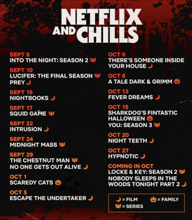 Netflix will showcase its seasonal spooky content with Netflix and Chills