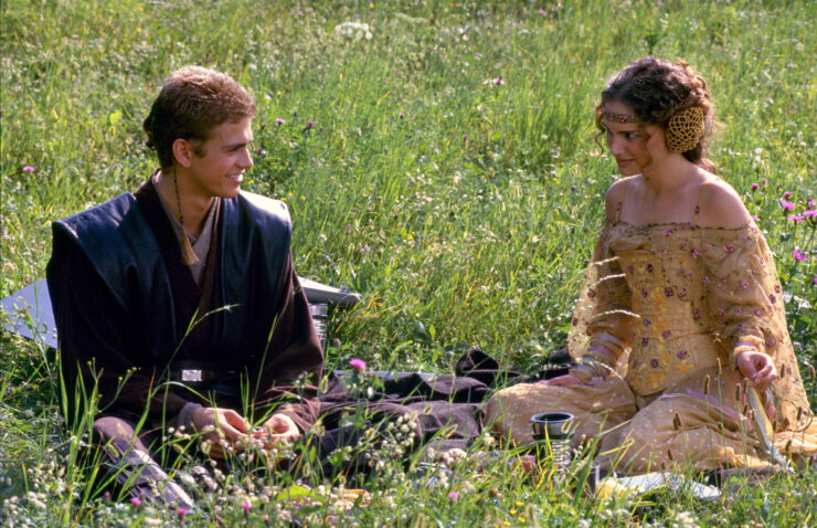 Anakin Skywalker and Padme Amidala in Star Wars Attack of the Clones