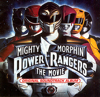 The album cover for the soundtrack to the 1995 Mighty Morphin Power Rangers Movie