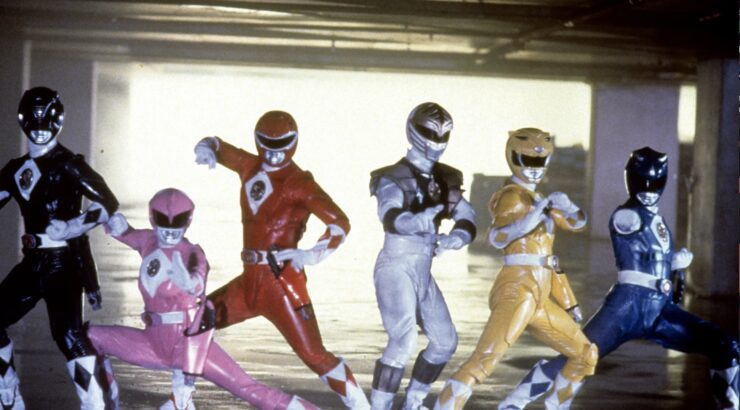 The Power Rangers team from the 1995 Might Morphin Power Rangers film, in their power suits