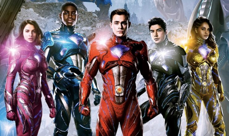 The Power Rangers team from the 2017 Power Rangers film, in their power suits