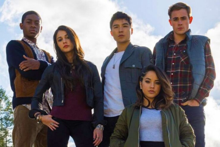 The Power Rangers team from the 2017 Power Rangers film, dressed in their teen outfits