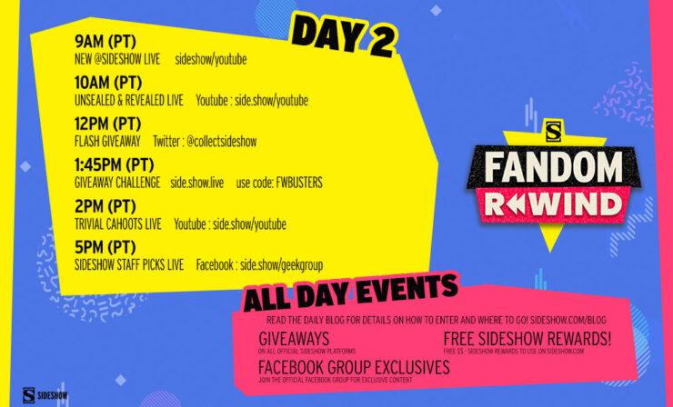 Sideshow Fandom Rewind Day 2 Schedule