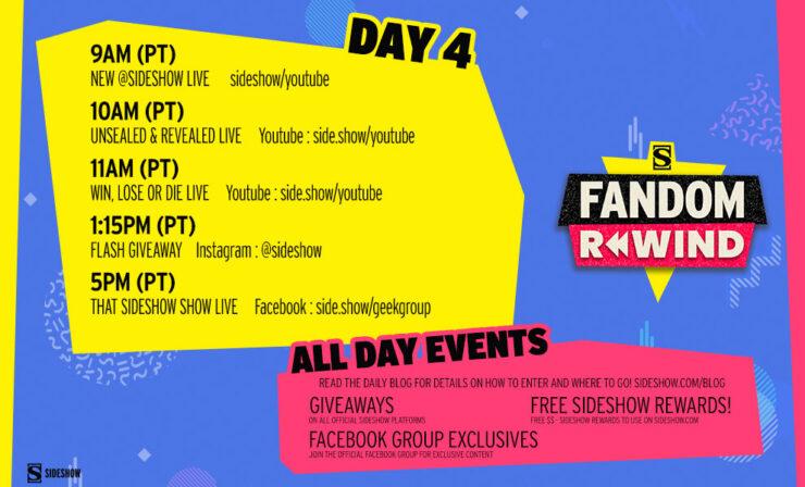 Sideshow Fandom Rewind Day 4 Schedule