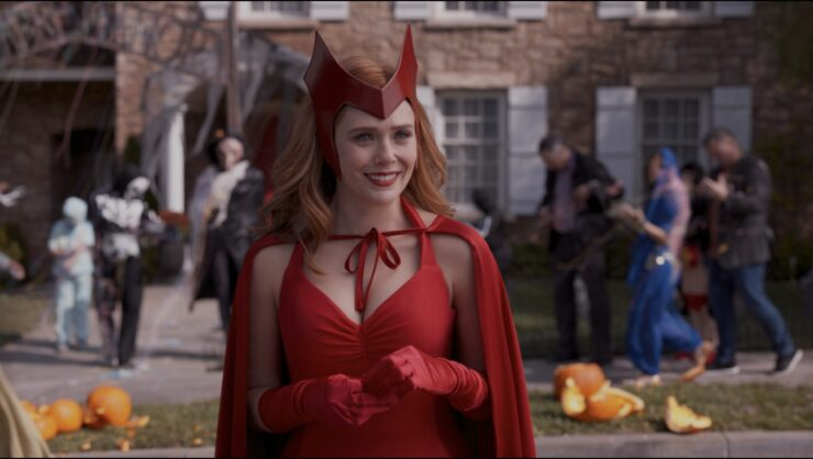 In the Halloween episode of WandaVision, Wanda struggles to maintain the illusion she's created as the cracks in her magic begin to appear