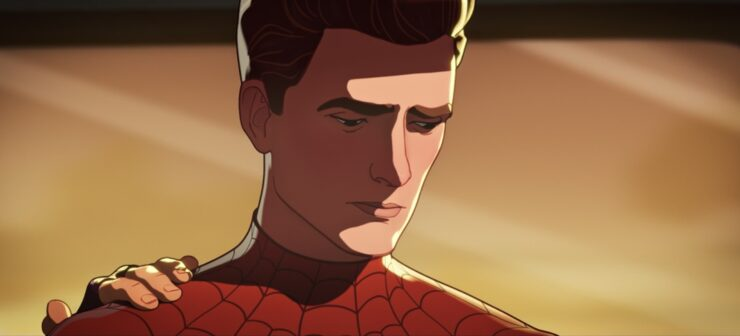 In episode 5 of Marvel's What If...?, Peter Parker inspires his teammates with a speech about loss and hope