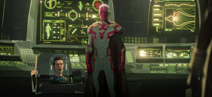 In episode 5 of Marvel's What If...?, Vision has used the power of the Mind Stone to discover a cure to the zombie virus
