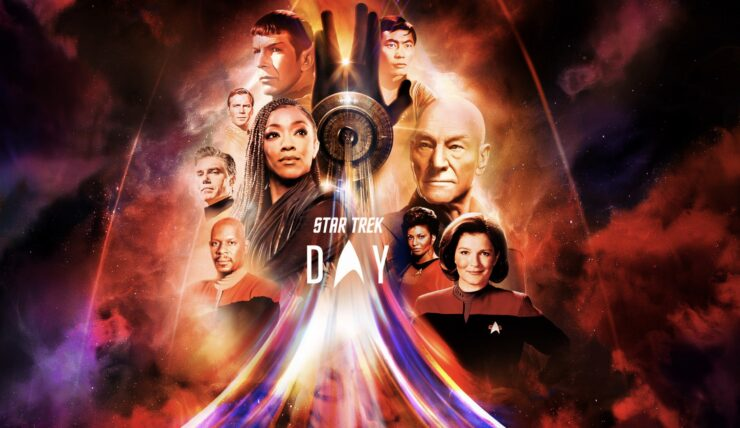 Star Trek Day Collage with Picard, Janeway, Spock, and More